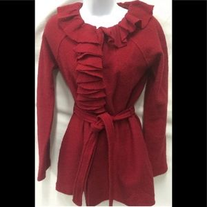 CYNTHIA ROWLEY Red Boiled Wool Ruffle Tunic